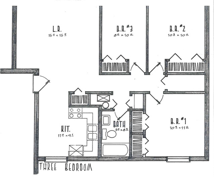 Three Bedrooms Floor Plan Image